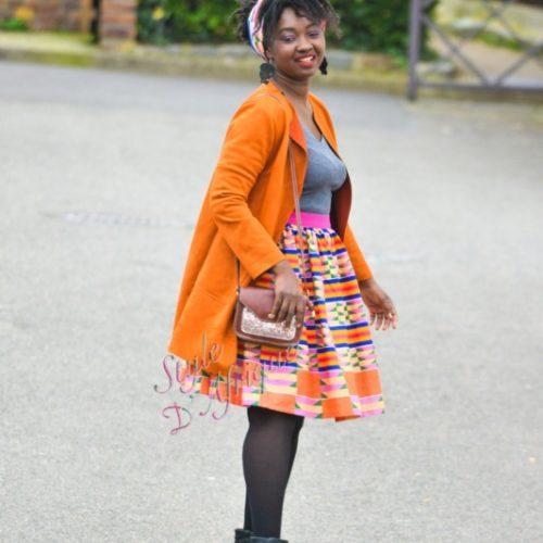 Jupe et foulard KENTE, jupe midi africaine wax pagne pour femme fleuri été, foulard de tête, chapeau de tête, bandana,