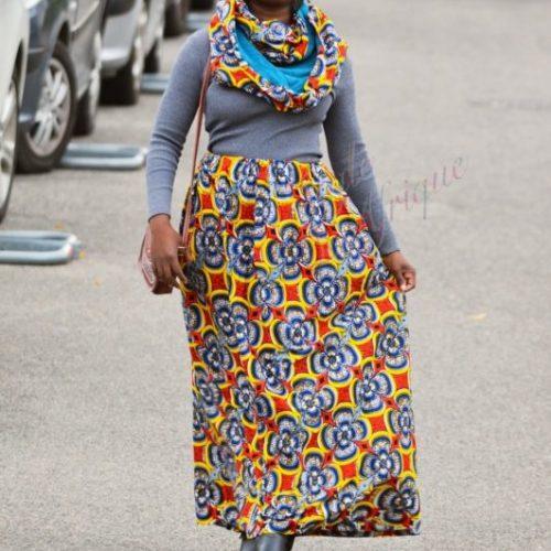 Maxi jupe et snood, jupe longue africaine wax pagne pour femme fleuri été.