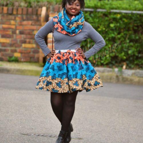 Jupe et snood bleu, jupe midi africaine wax pagne pour femme fleuri été