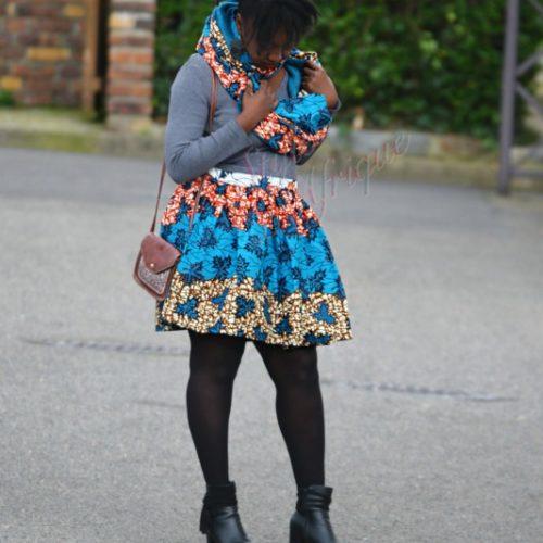 jupe midi africaine wax pagne pour femme fleuri été
