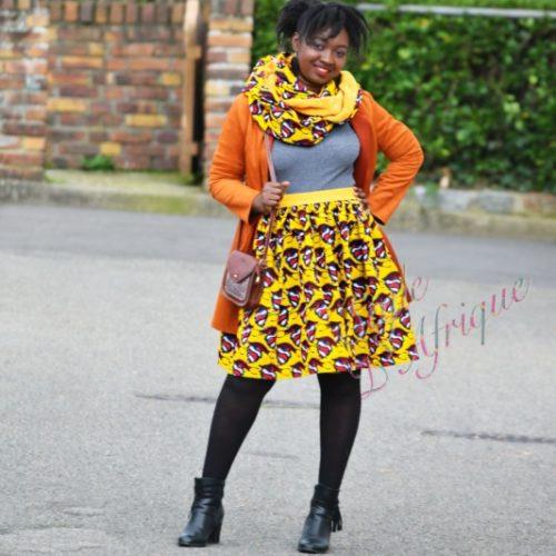 Jupe et snood orange, jupe midi africaine wax pagne pour femme fleuri été
