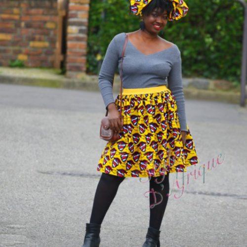 jupe et foulard WAX, jupe midi africaine wax pagne pour femme fleuri été