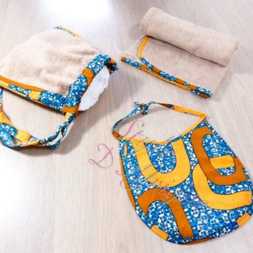 ensemble bavoir serviette gant de toilette wax enfant bébé naissance africain layette puériculture