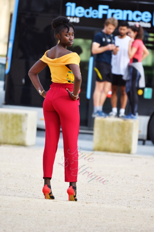 body femme africaine wax extensible à volant été en coton kente