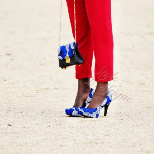 Sac à main et chaussures escarpins femme tendance wax africain