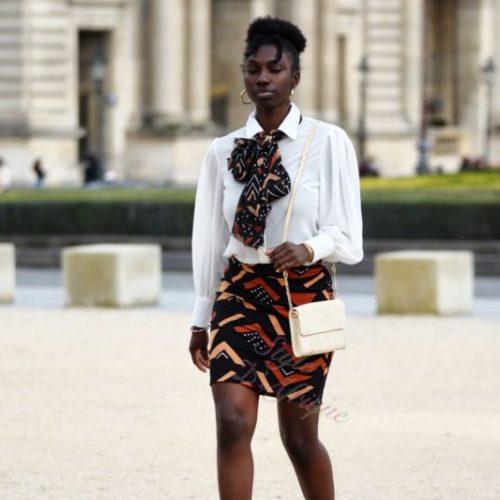 Mini Jupe droite femme extensible Bogolan africain lycra