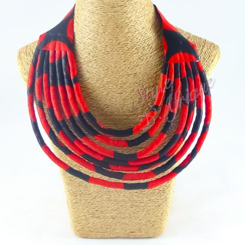 bijoux collier wax multirangs femme africaine, bijoux fantaisie, breloque africaine, bijoux ethniques, collier bohème, collier traditionnel chic