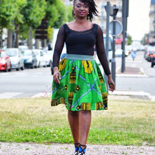 Jupe plissée à fermeture, jupe midi africaine wax pagne pour femme fleuri été jupe africaine moderne ethnique