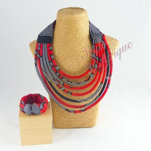 Parure bijoux Massaï rouge