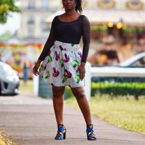 Jupe plissée évasée, jupe midi africaine wax pagne pour femme fleuri été jupe africaine moderne ethnique
