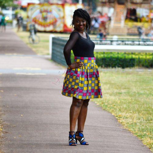 Jupe d'été à carreaux, Jupe plissée évasée, jupe midi africaine wax pagne pour femme fleuri été jupe africaine moderne ethnique