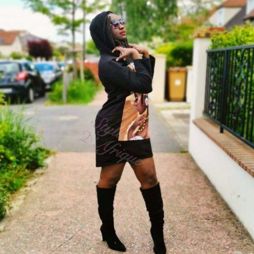 Pull noir à motifs Africains