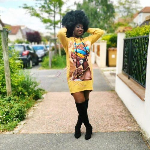 Pull jaune à motifs Africains