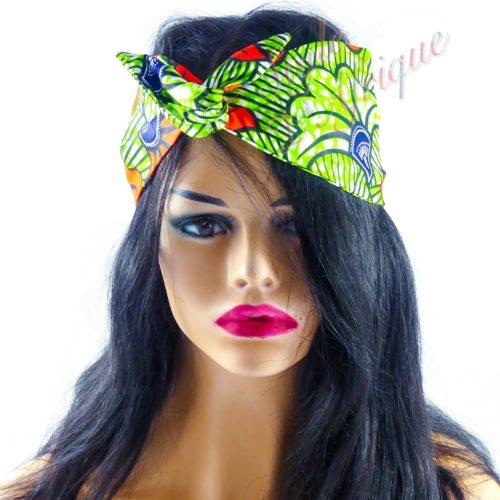 Très beau headband articulé Véro serre-tête bandeau en WAX de couleur bleue semi rigide. Bandeau en tissu africain idéal cadeau femme