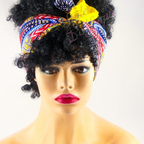 Très beau headband articulé DASHIKI serre-tête bandeau en DASHIKI de couleur jaune semi rigide. Bandeau en tissu africain idéal cadeau femme