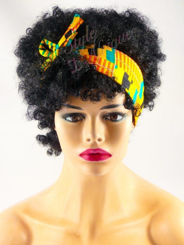 Très beau headband articulé KENTE serre-tête bandeau de couleur jaune semi rigide. Bandeau en tissu africain idéal cadeau femme