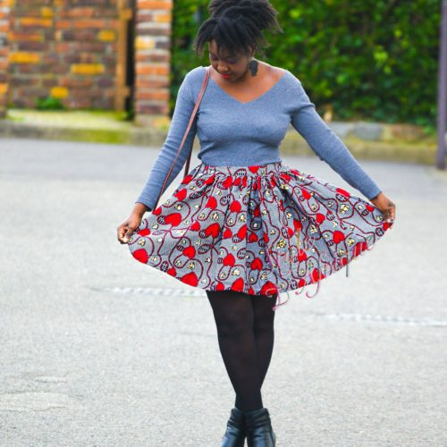 "Mini jupe ""AMOR"" wax africain"