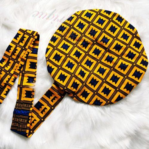 Turban Bonnet satin carreaux WAX