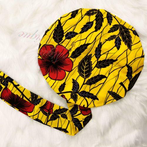 Turban Bonnet satin WAX Hibiscus